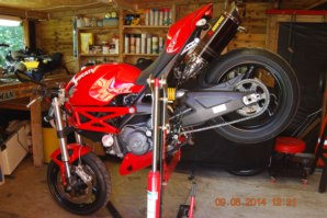 Ducati Monster on abba Sky Lift (Stoppie Position)