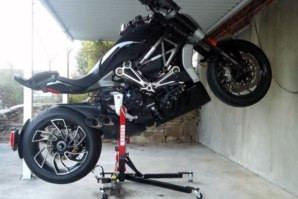 Ducati Diavel X on abba Sky Lift (wheelie position)