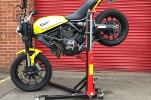 abba Sky Lift on Ducati Scrambler (stoppie position)