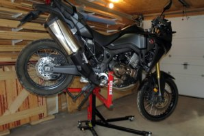Honda CFR1000L on abba Sky Lift (stoppie position)