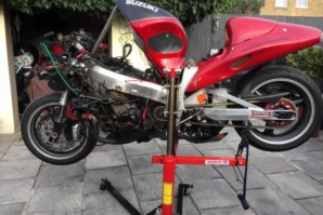 Suzuki Hayabusa being repaired on abba Sky Lift